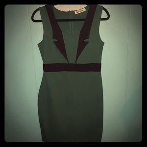 ModCloth -Forest Green and Black Pencil Dress